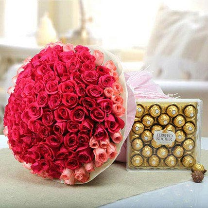 Pink Delight With Chocolate: Valentines Day Gifts to Bahrain