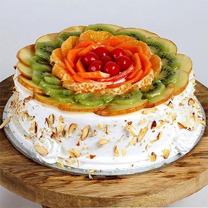 Creamy Vanilla Fruit Cake: Send Gifts To India