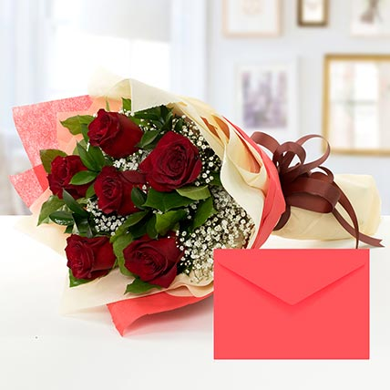 6 Red Roses Bouquet With Greeting Card KT: Gifts