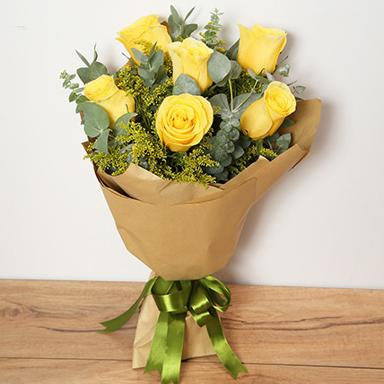 Bouquet Of Yellow Roses KT: Flowers