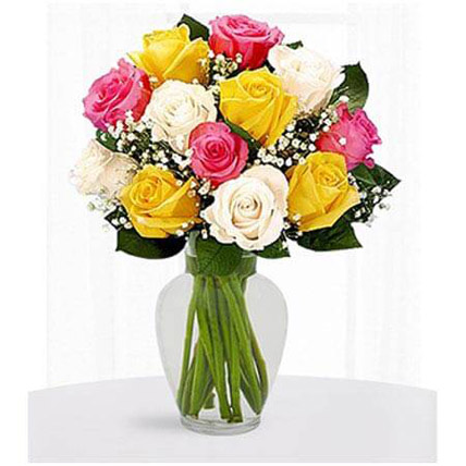 12 Multi Color Roses: Womens Day Flowers to Ajman