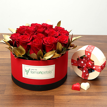 20 Red Roses With Belgium Chocolates: Valentines Day Chocolates