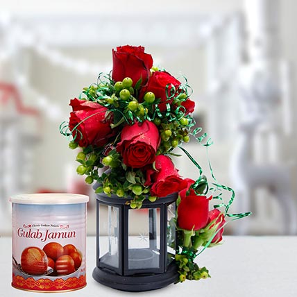 Alluring Roses Arrangement and Gulab Jamun Combo: Flowers & Sweets
