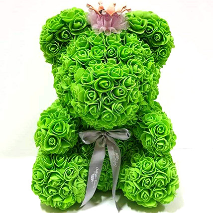 Artificial Green Roses Teddy With Crown: Rose Teddy Bears