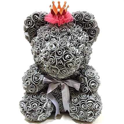 Artificial Grey Roses Teddy With Crown: Rose Teddy Bears