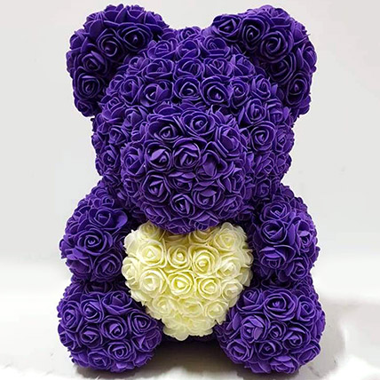 Artificial Roses Purple and White Teddy: Rose Teddy Bears