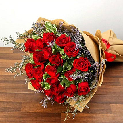 Bouquet Of 20 Red Roses: Valentines Day Flowers for Him