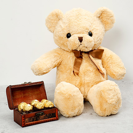Brown Teddy Bear and Wooden Chocolate Box: One Hour Delivery Gifts