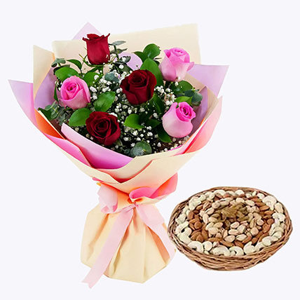 Captivating Roses Bouquet and Dry Fruits Combo: Flowers & Dry Fruits