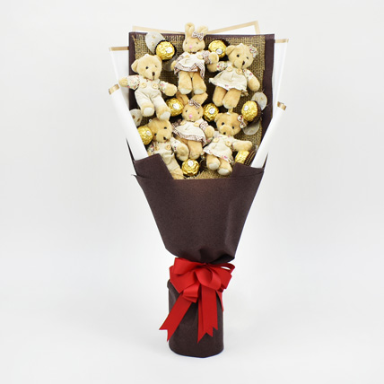 Chocolates and Teddy Bear Heart Shaped Bouquet: Chocolates for Him