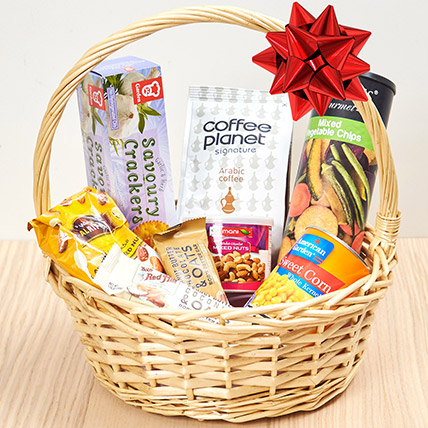 Coffee and Snacks Basket: Birthday Gift Hampers