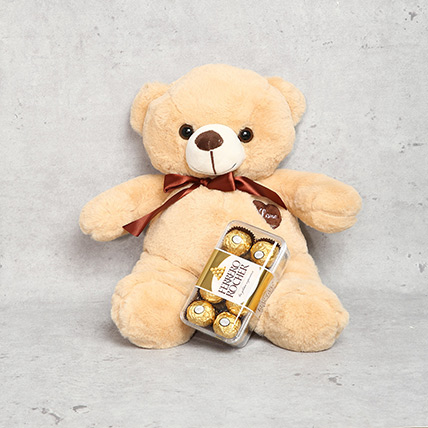 Coffee Brown Teddy Bear and Ferrero Rocher Chocolate Box: Teddy Day Gifts