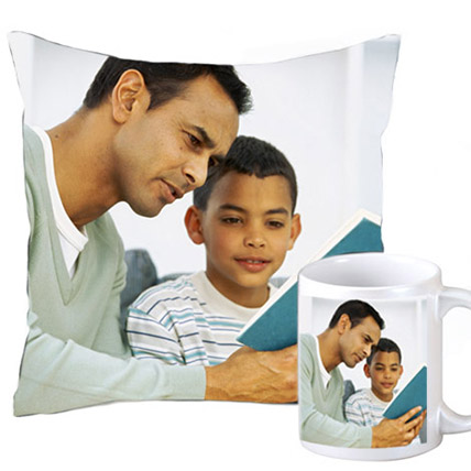 Cuddly personalized cushion and coffee mug: Gifts for Dad