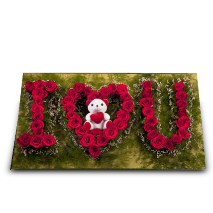 Cute Portrayal of Love: Birthday Flowers & Teddy Bears