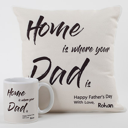 Dad Is Home Cushion And Mug Combo: Father's Day Gifts