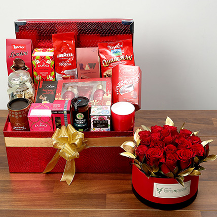 Delightful Food Hamper With Red Roses: Valentines Day Flowers for Him