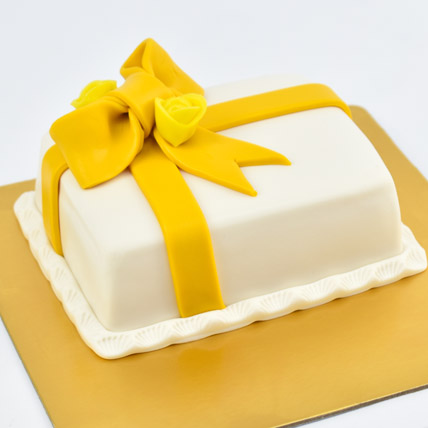 Designer Gift Wrapped Mono Cake: 1 Hour Gift Delivery