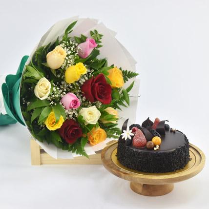 Dozen Multi Roses with Fudge Cake: Anniversary Flowers & Cakes