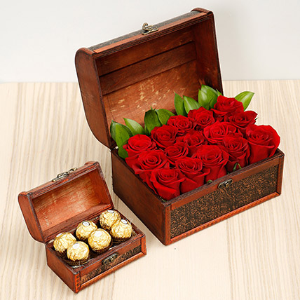 Elegant Box Of 15 Red Roses and Chocolates: One Hour Delivery Gifts