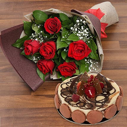 Enchanting Rose Bouquet With Marble Cake: Valentines Day Flowers & Cakes