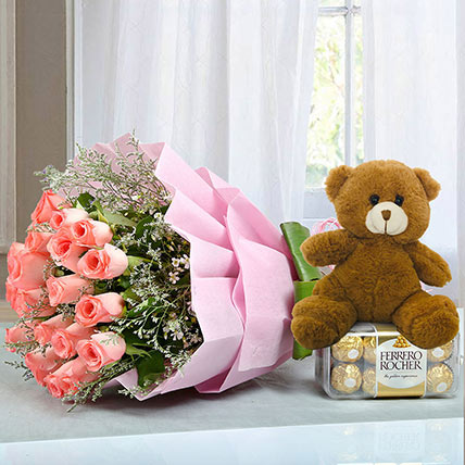 Hamper to Surprise U: Karwa Chauth Flowers & Teddy Bears