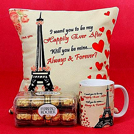 Happily Ever After Printed Cushion and Mug Combo: Valentines Day Mugs