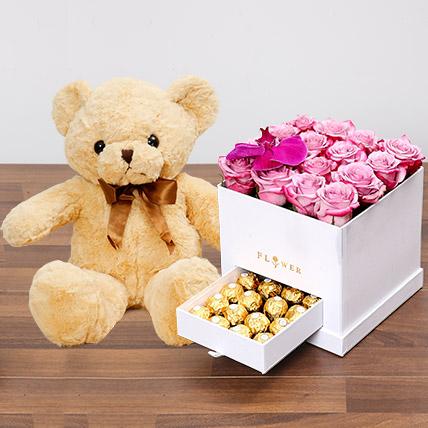 Hues Of Purple and Teddy Bear: Rose Day Flowers & Teddy Bears