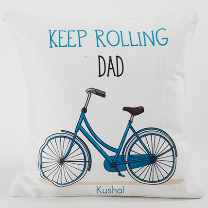 Keep Rolling Personalized Cushion: Personalised Gifts for Father
