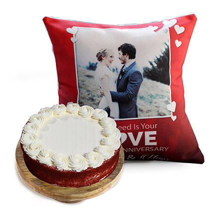 Love Anniversary Cushion and Red Velvet Cake: Red Velvet Cake