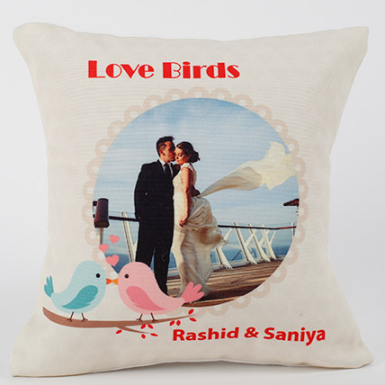 Love Birds Personalized Cushion: Valentine's Day Cushions