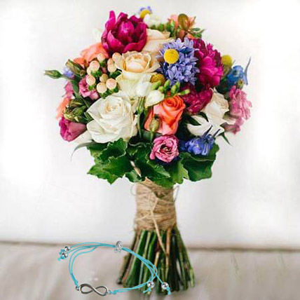 Mix Flowers with Friendship Band: Friendship Day Bands