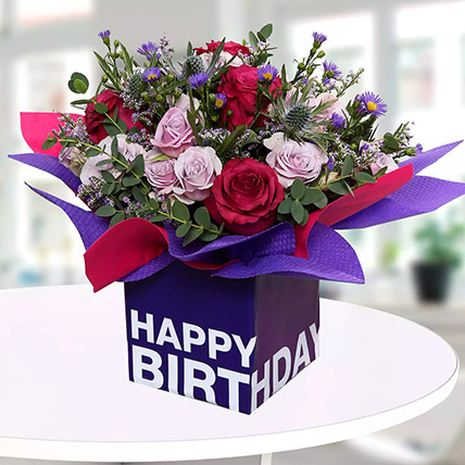 Mixed Flowers In Square Glass Vase: Birthday Gifts for Her