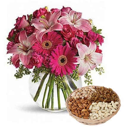 Mixed Flowers Vase Arrangement and Dry Fruits Combo: Anniversary Flowers & Dry Fruits