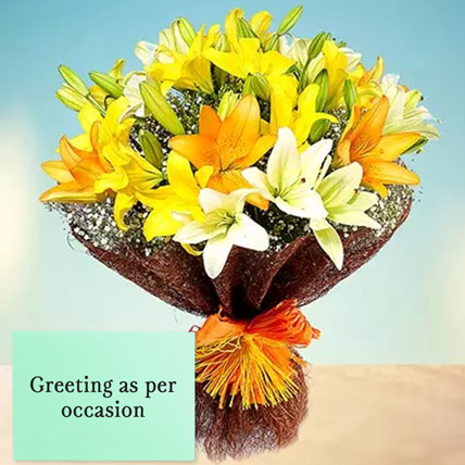 Mixed Lilies Bouquet With Greeting Card: Anniversary Flowers & Greeting Cards