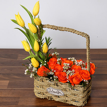 Orange Roses and Yellow Tulips Basket: Birthday Basket Arrangements