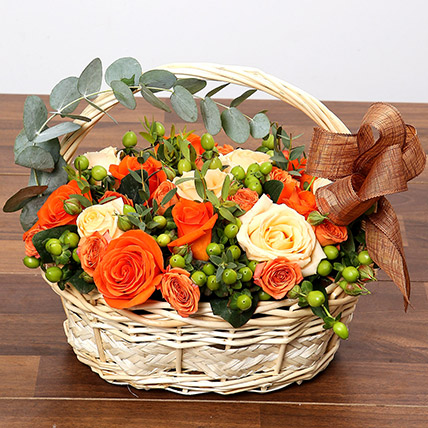 Peach and Orange Rose Basket: Birthday Basket Arrangements