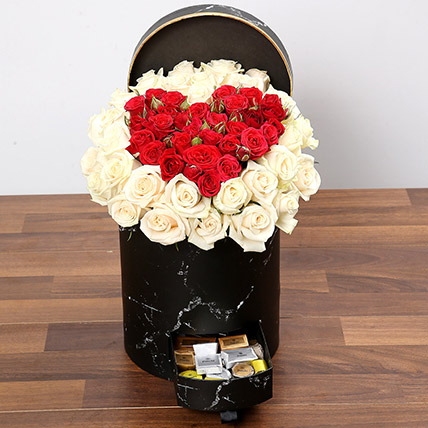 Peach and Red Rose Box With Patchi Chocolates: Flowers with Chocolates