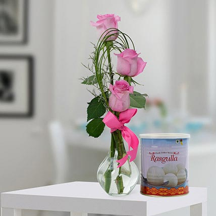 Pink Roses Arrangement and Rasgulla Combo: Karwa Chauth Gifts
