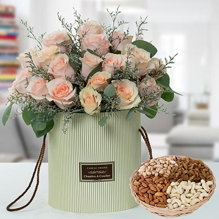Pink Roses Box And Dry Fruits  Combo: Birthday Flowers & Dry Fruits