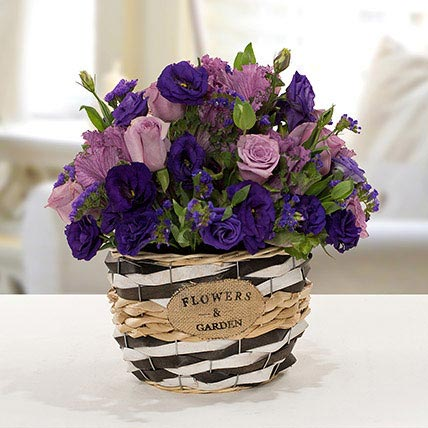 Pleasant Astoma N Rose Flower Basket: Basket Arrangements