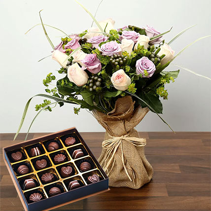 Purple and Peach Rose Bouquet With Chocolates: Flowers with Chocolates