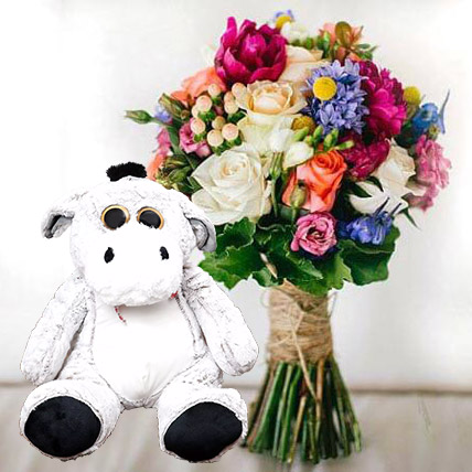 Ravishing Flowers and Brown Teddy Combo: Anniversary Flowers & Teddy Bears
