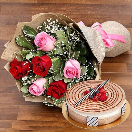 Red and Pink Rose Posy With Triple Chocolate Cake: Birthday Flowers & Cakes