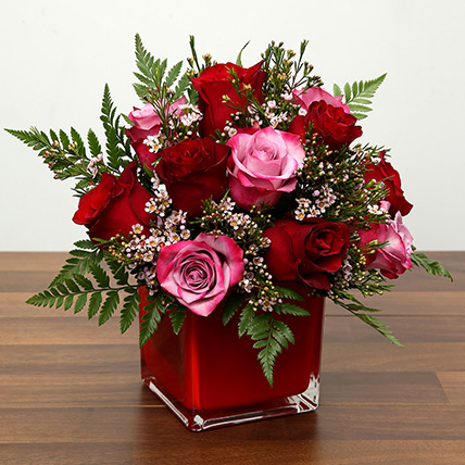 Red and Pink Roses In A Vase: Valentines Day Flowers for Him