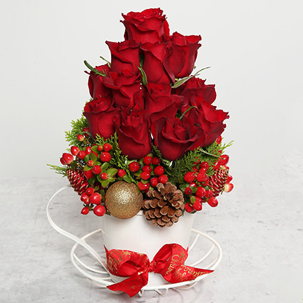 Red Roses and Berries Arrangement: Christmas Gifts 2019
