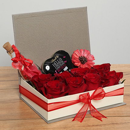 Red Roses and Heart Shaped Chocolate Hamper: Gifts Combos