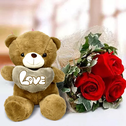 Red Roses and White Teddy Combo: Teddy Day Gifts