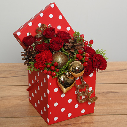 Red Roses Arrangement In Red Dotted Box: Christmas Flowers to Umm Al Quwain