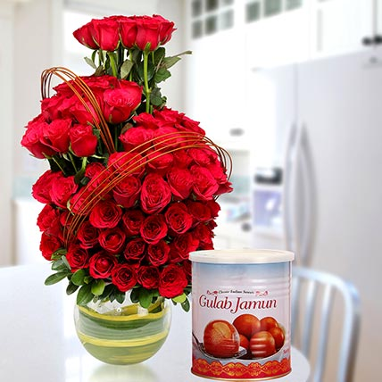 Red Roses Arrangement With Gulab Jamun: Birthday Flowers & Sweets