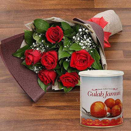 Red Roses Bouquet and Gulab Jamun Combo: Flower Bouquets